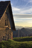 Rural House in Sunset — Stock fotografie