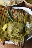 Bhetki paturi - Fish wrapped in a banana leaf — Stock Photo