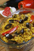 Eggplant Biryani - An Indian food made of rice and brinjal — Stock Photo