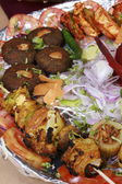 Kebab platter is a mixture of North Indian non vegetarian kebab — Stock Photo