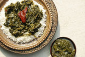 Haak Kashmir spinach is stir-fried spinach cooked in a spices — Stock Photo