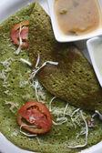 Palak Dosa - A Crispy  Spinach pancake — Stock Photo