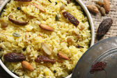 Kashmiri modur pulao is sweetened rice dish from India — Stock Photo