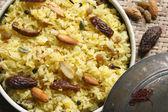 Kashmiri modur pulao is sweetened rice dish from India — Stock Photo