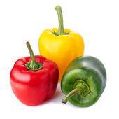 Three color peppers isolated on white — Stock Photo