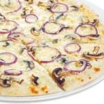 Pizza with mushrooms closeup — Stock Photo