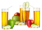 Fresh apple juices in highball glasses — Stock Photo