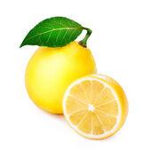 Ripe lemon with leaf — 图库照片
