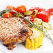 Hearty steak dinner. Grilled meat on a plate. — Stock Photo