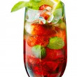 Red mojito with strawberry — Stock Photo #45059757