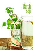 Birch sap on table — Stock Photo