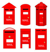 Various shape of postboxes vector. There is rarely somebody using it nowadays. — Stock Vector