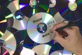 Pirated Movie DVD piled — Stock Photo
