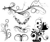 Set of swirling graphic elements vector — Stock Vector