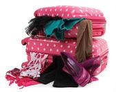 Pink travel suitcase — Stock Photo