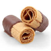 Wafer rolls with chocolate — Stock Photo