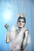 Model with creative artistic make up posing as Ice Queen — Stock Photo