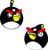 Black angry birds — Stock Vector