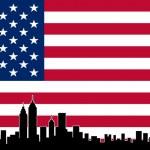 USA Colour Flag New York City Vector Skyline — Stock Vector #40170173