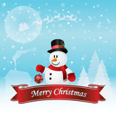 Snowman Christmas Card Vector Illustration — Stock Vector