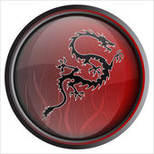Black & Red Dragon Vector Illustration Button — Stock Vector