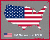 USA Map With Flag On Grey Background Vector Illustration — Wektor stockowy