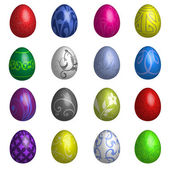 Set Of Sixteen Colour Easter Eggs With Different Ornaments — Stock Vector