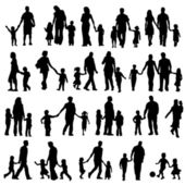 Set Of Black Silhouettes Illustration Of Parents With Children — Stock Vector