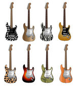Set Of Eight Deluxe Colour Electric Guitars Vector Illustration — Stock Vector