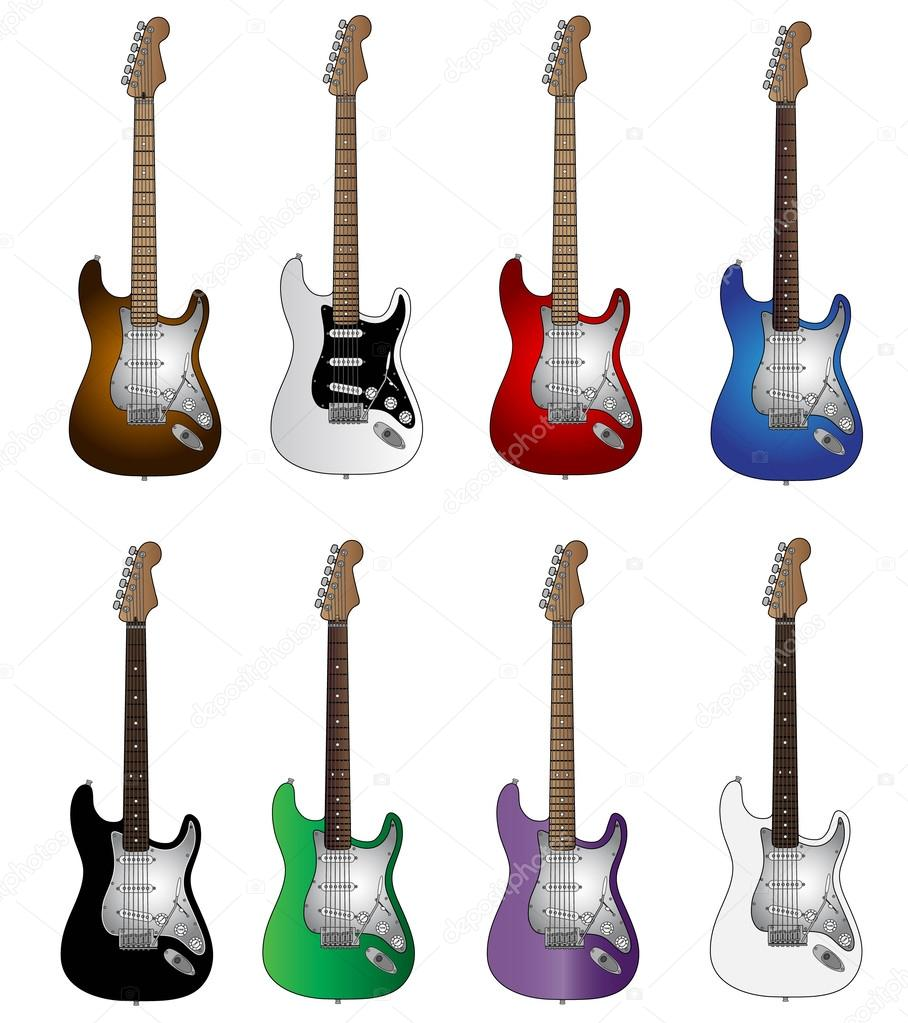 Set Of Eight Basic Colours Electric Guitars — Stock Vector #41885369