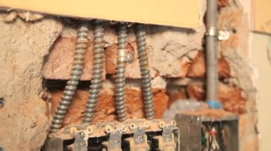Tight shot of old house electrical work. — Stock Video