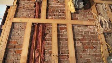 Tilting shot of old house remodel. — Stock Video
