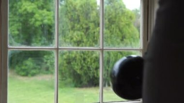 Bowling ball through window super slow motion 2. — Stock Video