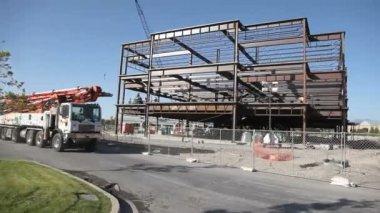 Drifting shot of construction site cement truck. — Stock Video