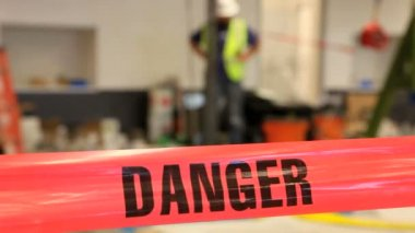 Danger tape on construction site. — Stock Video