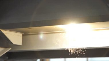 Welding sparks super slow motion tight shot. — Stock Video