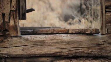 Tilting shot of old cabin door. — Stock Video