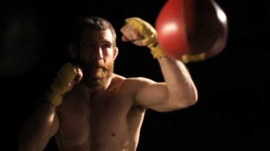 Boxing slow motion tight shot — Vídeo Stock