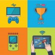Set of vector game concept design flat line — Stock Photo #46935549