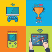 Set of vector game concept design flat line — Stock Photo