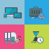 Set of vector business concept design flat line — Stock fotografie