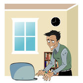 Man op een laptop — Stockvector