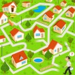 Stockvector : Funny maze game: funny real estate agent find way to house for sale