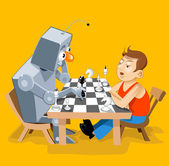 Vector illustration: Funny robot play chess with man — Stock Vector
