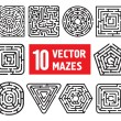 Vector set: 10 mazes. Different black and white shapes — Stock Vector #43962677