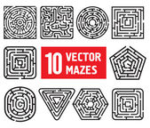 Vector set: 10 mazes. Different black and white shapes — Stock Vector