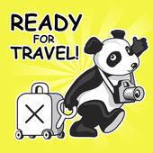 забавный мультфильм панда готова для путешествий — Cтоковый вектор