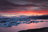 Jokulsarlon Ice Lagoon in-summer light(sunset — Stock Photo
