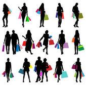 Silhouettes féminines de magasins — Vecteur