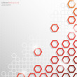 Grey and Red Hexagonal Honeycomb Abstract Background — Stock Vector #40410385